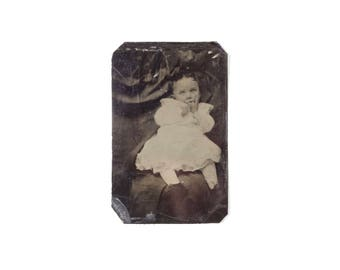 Vintage Tintype Photo of Infant Baby Girl with Hidden Mother / Child Tintype / Victorian Era Tintype Photograph