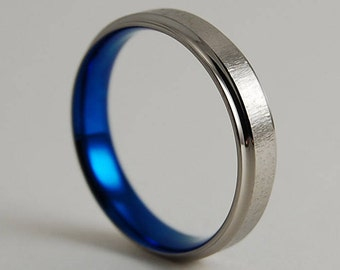 Mens Wedding Ring , Mens Titanium Ring , Mens Wedding Band , Neptune Band in Nightfall Blue with Comfort Fit