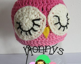 Crochet Owl Hat. size 6-12 months, Ready to Post