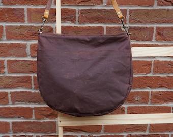 Brown Halfmoon Wax Canvas Bag - Wax Coated Canvas Shoulder Bag - Genuine Leather Strap Crossbody Bag - Everyday Bag - style: Halfmoon