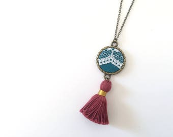 Lace Tassel Necklace | Turquoise, Burgundy, Upcycled, Repurposed, Lace jewelry, Modern Vintage, Bold, Bright, Vintage Jewelry, Boho