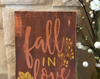 Fall in Love Autumn Wood Sign