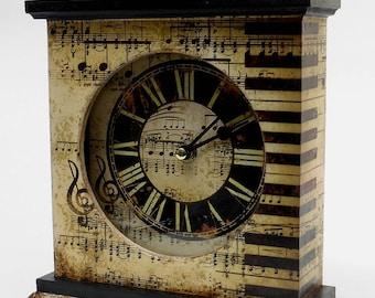 Mantel Clock,  Piano Clock. Unique Clock. Unusual Clock. Music Clock. Music Room Clock..