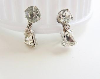 Vintage earrings, beautiful dainty rhinestones, screw backs,  Bridal ,estate sale find.MAR 105