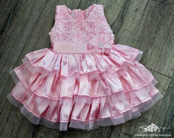 Pink Baby Dress, Birthday Dress, Pink Rosette Baby Dress, Satin Lace Dress, Baby Girl Dress for Wedding, Toddler Girl Dress