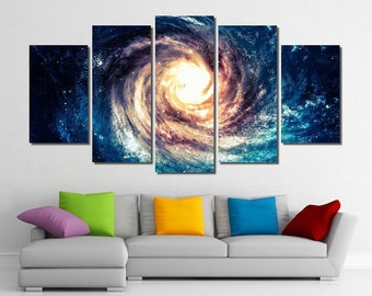 Framed Galaxy And Black Hole Cosmos Space Wall Canvas Art - Ready to Hang
