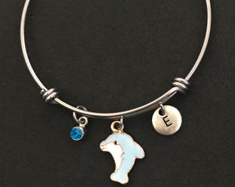 Dolphin Initial Bangle Dolphin Initial Bracelet
