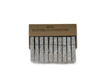 Silver Glitter Mini Clothespins. Party Decor. Wedding Decor. Glitter Clothespins. Place Card Holder. 25th Anniversary Party. Embellishments.