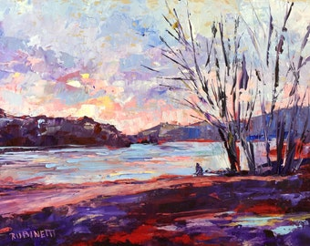 River Painting, Original Oil, landscape Painting, Rubinetti, 14 x 11, Red River, palette knife, contemporary, impressionist, delaware river