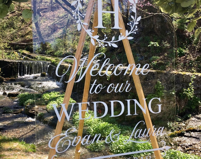 Welcome Wedding Decal Twig Wreath Rustic Wedding Decal Elegant Wedding Decor Personalized Welcome Decal for Chalkboard DIY