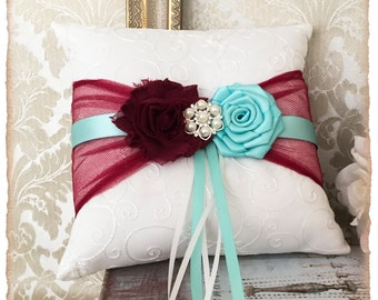 Ring Bearer Pillow, Ring Pillow, Wine and Aqua Wedding Pillow, Wedding Ring Pillow