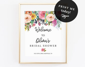 Welcome Sign Bridal Shower Template Editable PDF ANY EVENT