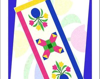 POTTED TULIPS Table Runner Pattern - B J Q 121 --- Printable Download Pdf E-Pattern Diy Free Shipping Digital Pattern Blue White Pink Green