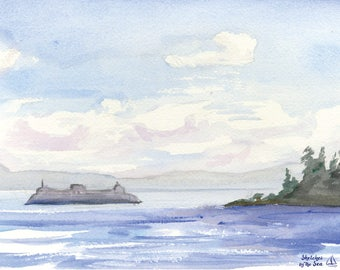Seattle Ferry Watercolor Painting - Art Print