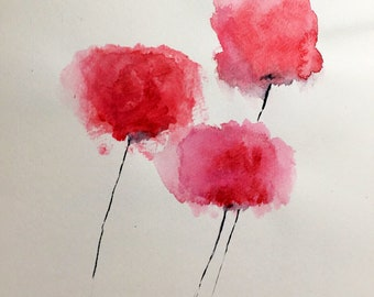"""Original watercolor """"Poppy"""" red single hand Painted flower red flower poppy painting art flower mural Wall Abstract"""