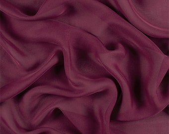 Burgundy Silk Double Georgette, Fabric By The Yard