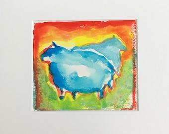 Sheep - Colourful Gouache/Watercolour painting