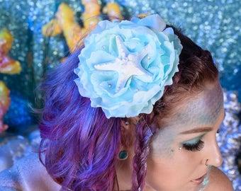 """Mermaid Hair Clip, Blue Starfish Peony Hair Clip, Hair Clip, Pinup Hair Accessorie- """"Blue Waters"""""""