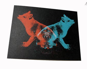 1AEON Animal Spirit - 2Foxes postcard, fox postcard, greeting card, fox,  card, animal, paper