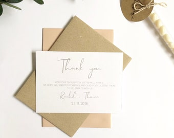 METALLIC Personalised Thank You cards Invitations. Envelope option. Rose gold, gold or Silver print