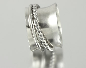 Sterling Silver Band Spinner Ring with One Round Wire and One Twisted Wire Sterling Spinner