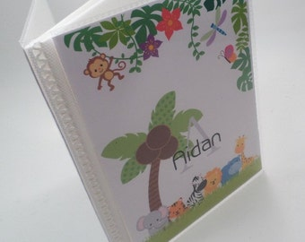 Baby Boy Photo Album personalized photo album Baby Shower Gift Girl photo album grandmas brag book grandparent Jungle Animal 4x6 or 5x7 228