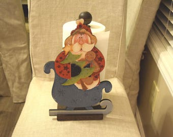 Santa and Sled Paper Towel Holder - Renee Mullins design hand painted by Tammy Roberds