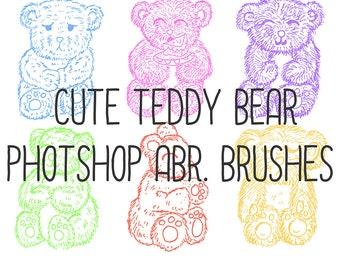 Cute Collection of SIX Teddy Bear ABR Brushes for Photoshop!