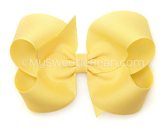 Banana Cream Hair Bow, 4 inch Basic Bow, Butter Yellow Boutique Bow, MTMG Aloha Sunshine, Sea Splash, Pastel Yellow
