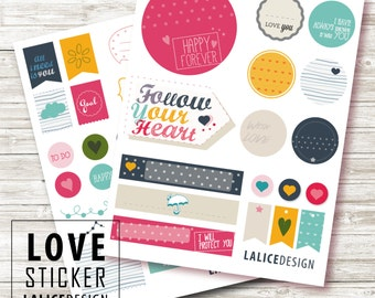 LOVE printable planner stickers set