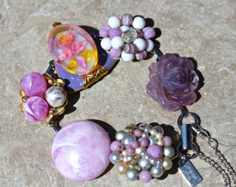 Bridesmaid Gift, Wedding Bracelet, Vintage Earring Bracelet, Reclaimed, Cluster, Purple, Lilac, Iris, Orchid, Jennifer Jones - Lavender Moon