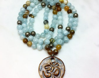 Devi Mala - Aquamarine, Opal, and Pyrite Mala Beads- Buddhist Prayer Beads, 108 Mala Beads - feminine-masculine energies and oneness