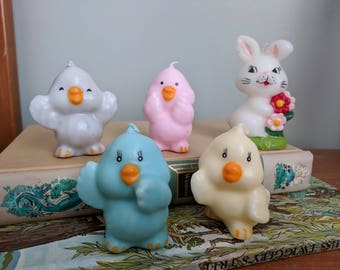 Easter Candles, Bunny and Four Chicks, 2.5 and 3.5 Inches Tall