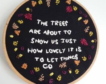 Embroidered Autumnal Quote