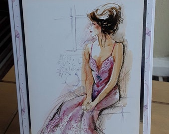 Greeting Card, Lady by a Windoq