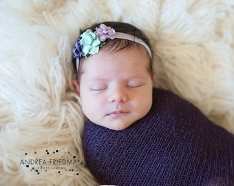 Purple Newborn Headband, Purple Headband, mint headband, purple Flower Headband, lavender headband, purple and lavender Headband
