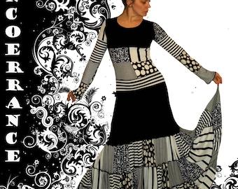 Bohemian dress, skirt, boho, patchwork... 'Black and white Patch...'