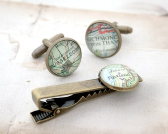 Bronze Tie Clip and Cufflink Set Custom Map Cuff links and Tie Bar Bronze Anniversary Gift for Men Map Cufflink and Tie Clip