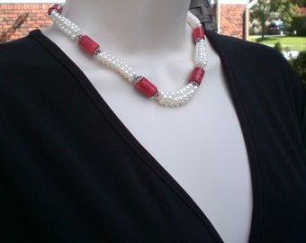 Handmade Pearls And Coral Necklace - Choker - Office Jewelry - Graduation Gift - Anniversary - Birthday -