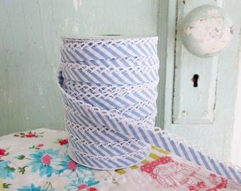 Sky Blue Stripe Crochet Edge Bias Tape (No. 110). Quilt Binding. Craft Supplies. Sewing Supplies. Stripe Fabric.  Striped Quilt Binding