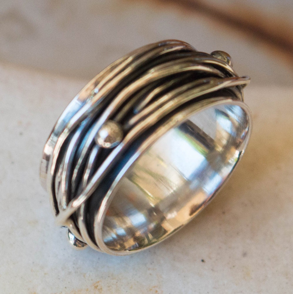 Sterling silver ring-Mens ring-Thumb ring sterling silver-Wide
