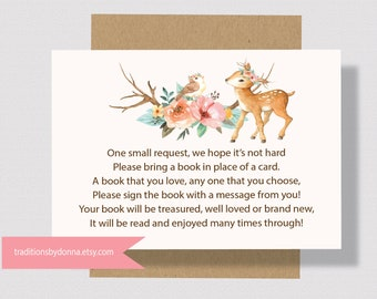 BOOK REQUEST CARD  Deer Baby Shower Printable For Girl Baby Shower | Bring A Book Instead Of A Card Woodland Baby Shower Books for Baby 0260