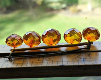 Antique Faceted Amber Pin
