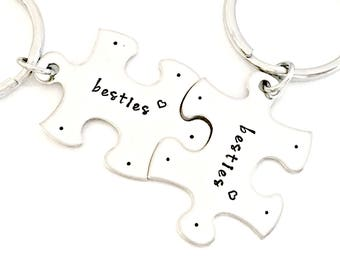 Everything's Better When We're Together - Besties Key Chain Set - Puzzle Piece Keychains - Best Friends Gift Set - Bridesmaid, BFF Gift Idea