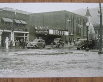 1938 Flood Photo Anaconda, Montana Washoe Theater - Pre Deco Section Neon Lights - & Anaconda Motors - Gas Station Pump  - Photo Reprint