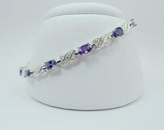Amethyst, Iolite, Tanzanite Bracelet