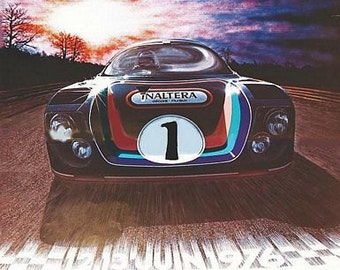 Vintage 1976 Le Mans 24 Hour Race Motor Racing Poster A3 Print
