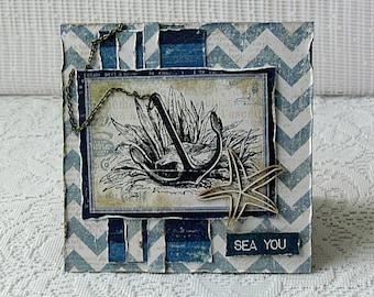 "Masculine greeting card , anchor card , nautical card , any occason card , hand made card , folded card , 5"" x 5 "", card blank card"