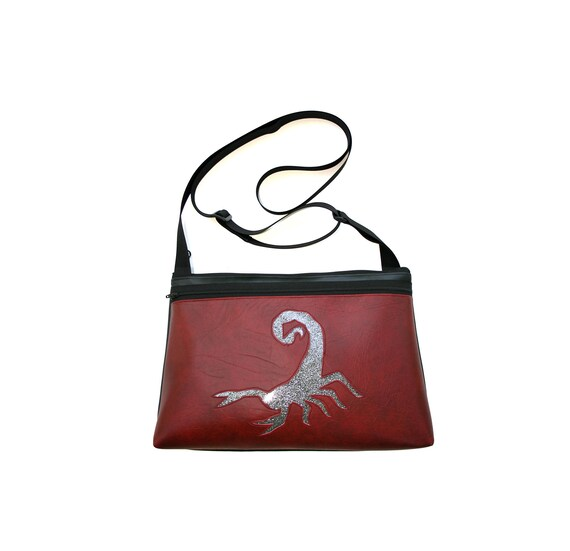 Scorpion, glitter vinyl, dark red vinyl, medium crossbody, vegan leather, zipper top