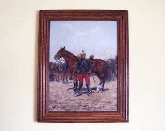 Antique Victorian Oil On Canvas Military Oil Painting of Soldier French Lancers